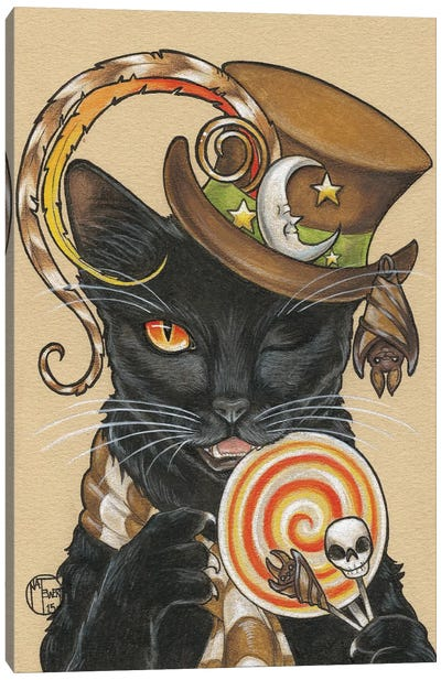 Halloween Cat With Lollipop Canvas Art Print