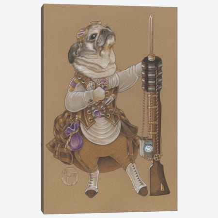 Pug Steampunk Canvas Print #NEW24} by Natalie Ewert Canvas Artwork