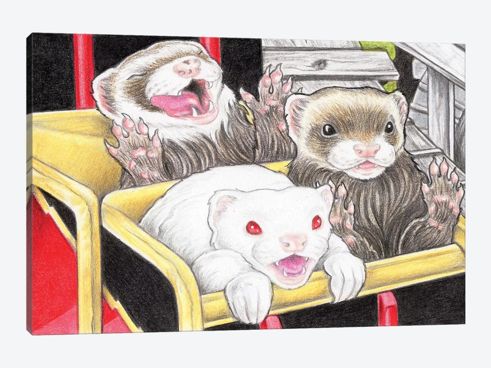 Rollercoaster Ferrets by Natalie Ewert 1-piece Canvas Artwork