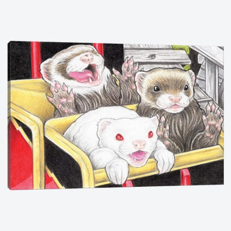 Rollercoaster Ferrets Canvas Print #NEW27} by Natalie Ewert Canvas Wall Art