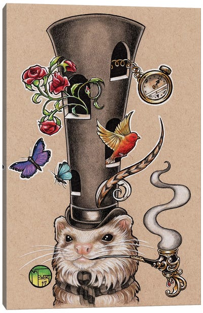 Tall Hat Ferret Canvas Art Print