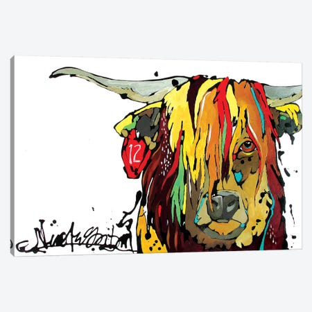 Highland Cow Canvas Print #NGA22} by Nicole Gaitan Canvas Wall Art
