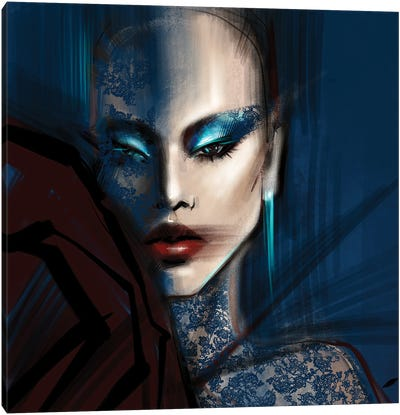 Laced in Blue Canvas Art Print