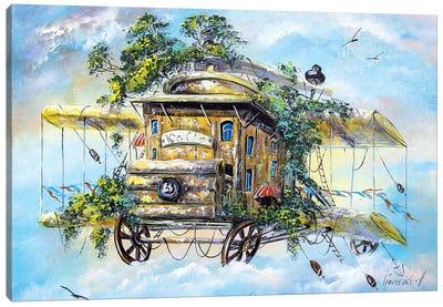 Flying Coffeemill Canvas Art Print