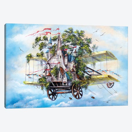Flying House-City Canvas Print #NGR15} by Natalia Grinchenko Canvas Print