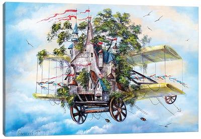 Flying House-City Canvas Art Print