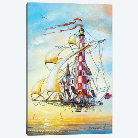 Flying Lighthouse Canvas Print #NGR16} by Natalia Grinchenko Canvas Print