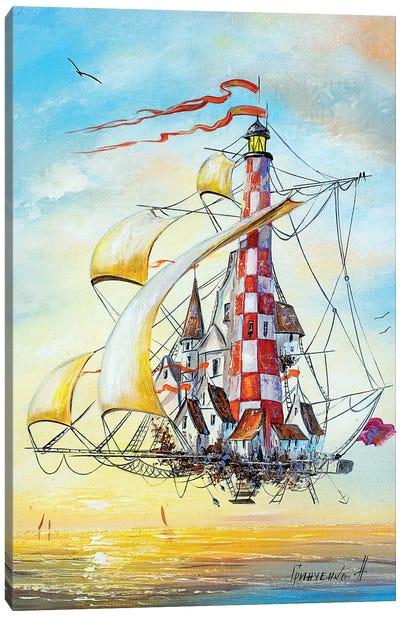 Flying Lighthouse Canvas Art Print