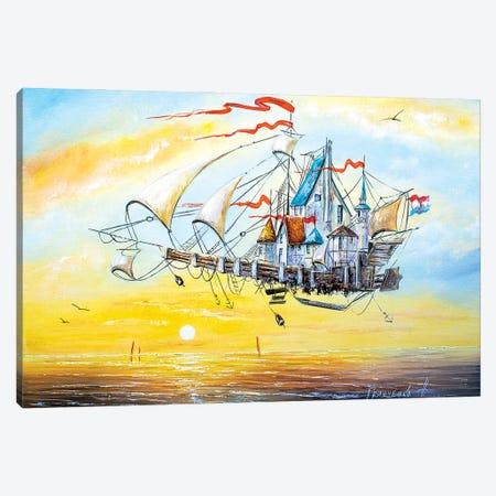Flying Ship City Canvas Print #NGR17} by Natalia Grinchenko Canvas Print