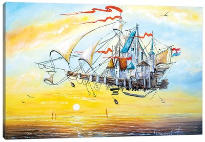 Flying Ship City Canvas Art Print