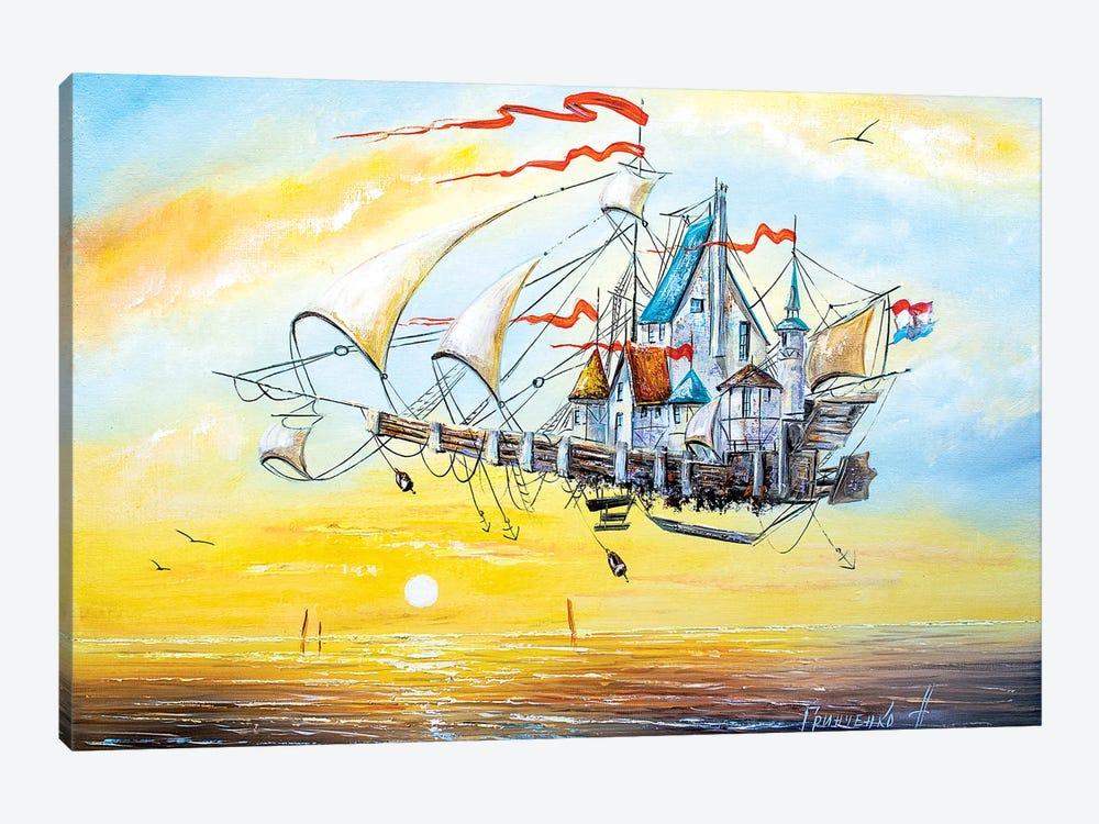 Flying Ship City by Natalia Grinchenko 1-piece Canvas Print