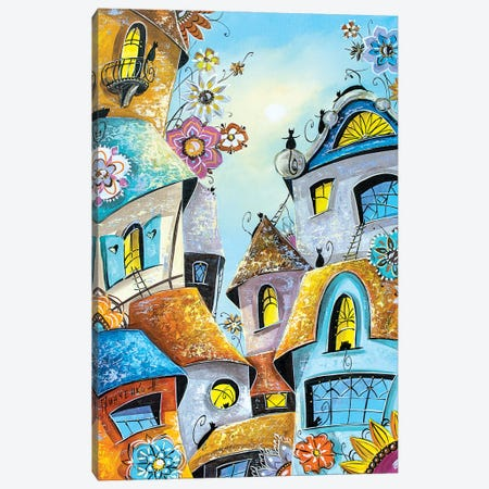 Amazing Cat City Canvas Print #NGR1} by Natalia Grinchenko Canvas Artwork