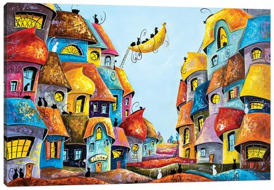 Interesting Stories In The City Of Cats Canvas Art Print