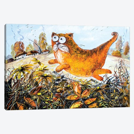 Red Cat Of Autumn Canvas Print #NGR27} by Natalia Grinchenko Canvas Art