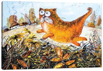 Red Cat Of Autumn Canvas Art Print