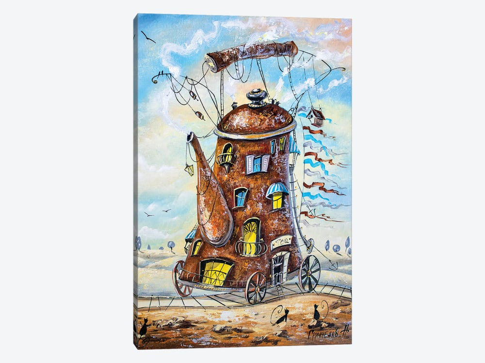 Teapot-Traveler by Natalia Grinchenko 1-piece Canvas Artwork