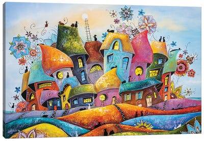 The Most Blooming And Colorful City Of Cats Canvas Art Print