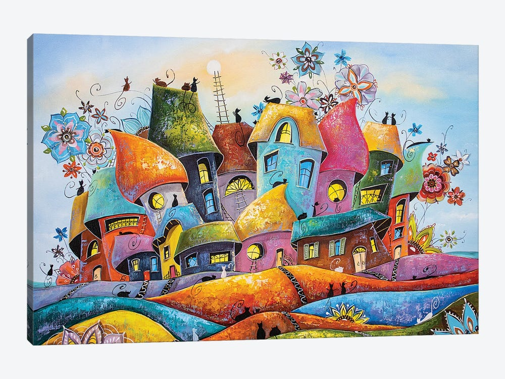 The Most Blooming And Colorful City Of Cats by Natalia Grinchenko 1-piece Art Print