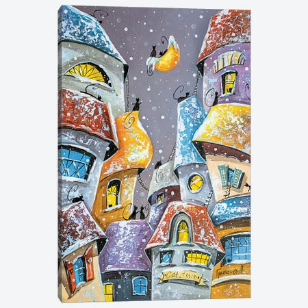Winter Fun In The City Of Cats Canvas Print #NGR36} by Natalia Grinchenko Canvas Print