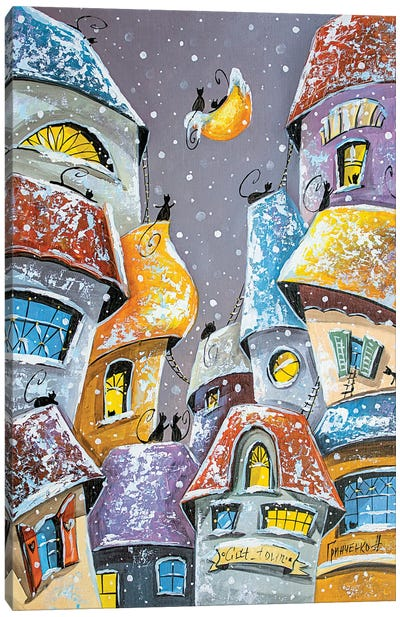 Winter Fun In The City Of Cats Canvas Art Print