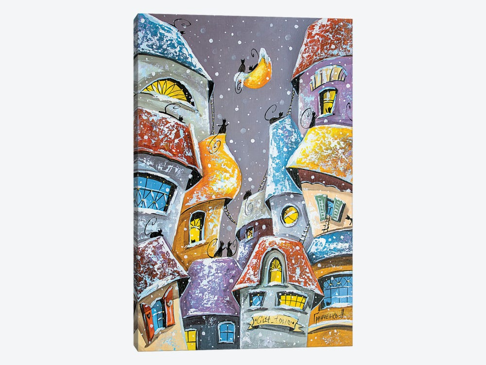 Winter Fun In The City Of Cats by Natalia Grinchenko 1-piece Canvas Wall Art