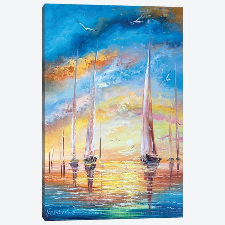 Yachts On Vacation Canvas Print #NGR38} by Natalia Grinchenko Canvas Art