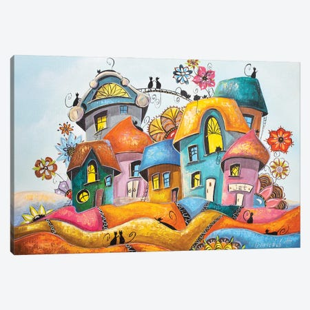 Blooming City Of Cats Canvas Print #NGR3} by Natalia Grinchenko Canvas Artwork