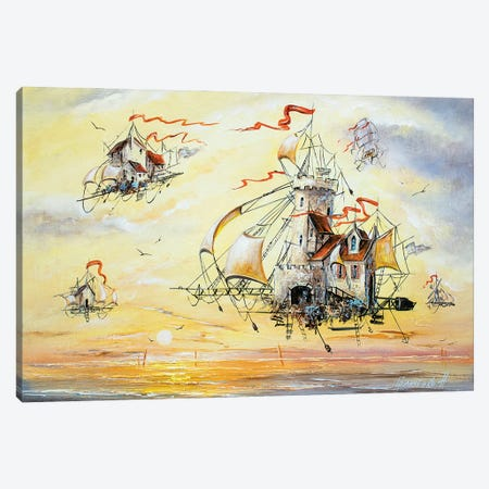 Amazing Flying Dutchmen Canvas Print #NGR40} by Natalia Grinchenko Canvas Print