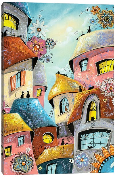 Flower Mood In The City Of Cats Canvas Art Print