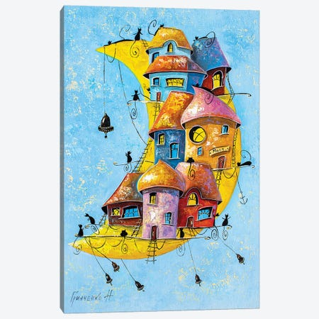 Moon City Of Cats Canvas Print #NGR43} by Natalia Grinchenko Canvas Art Print