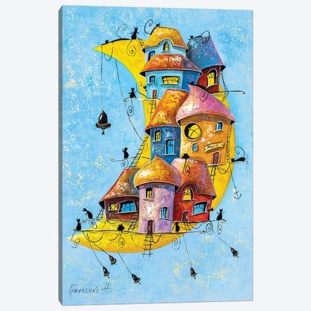 Moon City Of Cats Canvas Print #NGR43} by Natalia Grinchenko Canvas Art Print