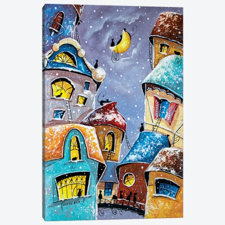 Winter Night In The City Of Cats Canvas Print #NGR48} by Natalia Grinchenko Canvas Art Print