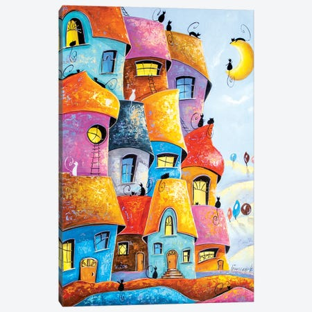 City of cats in the moonlight Canvas Print #NGR57} by Natalia Grinchenko Art Print
