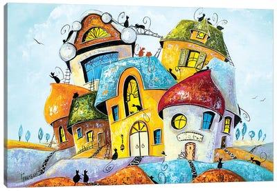 Colored Cat City Canvas Art Print