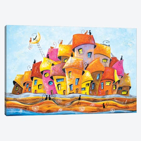 White nights in the city of cats Canvas Print #NGR62} by Natalia Grinchenko Canvas Print