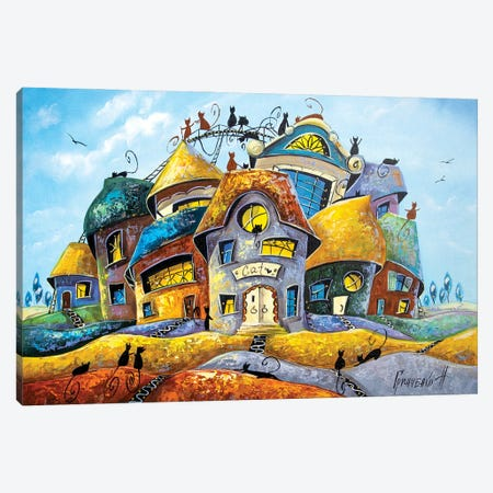 Different Stories In The City Of Cats Canvas Print #NGR6} by Natalia Grinchenko Art Print