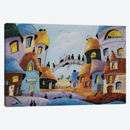 Meeting Guests In The City Of Cats Canvas Print #NGR75} by Natalia Grinchenko Canvas Print
