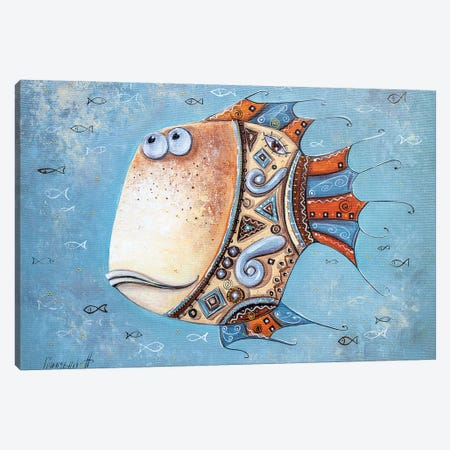 Fish-Mascot Canvas Print #NGR7} by Natalia Grinchenko Art Print