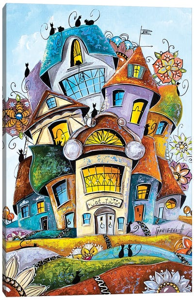 Flower City Of Cats Canvas Art Print