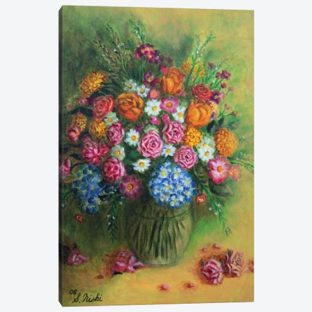 Festive Bouquet Canvas Print #NHI10} by Sam Nishi Art Print