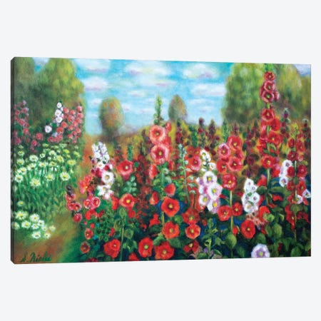 Field Of Hollyhocks Canvas Print #NHI11} by Sam Nishi Canvas Print