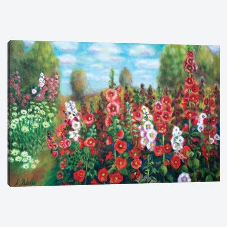 Field Of Hollyhocks Canvas Print #NHI11} by Sam Nishi Canvas Print