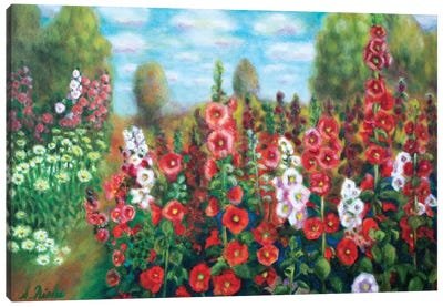 Field Of Hollyhocks Canvas Art Print