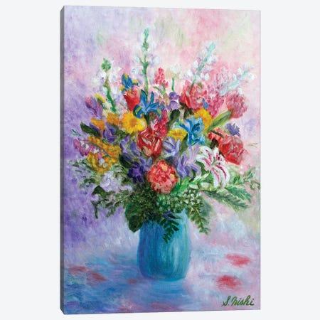 Happy Bouquet Canvas Print #NHI13} by Sam Nishi Art Print