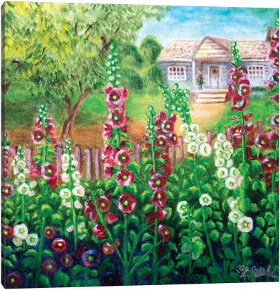 Hollyhocks & Cottage Canvas Art Print
