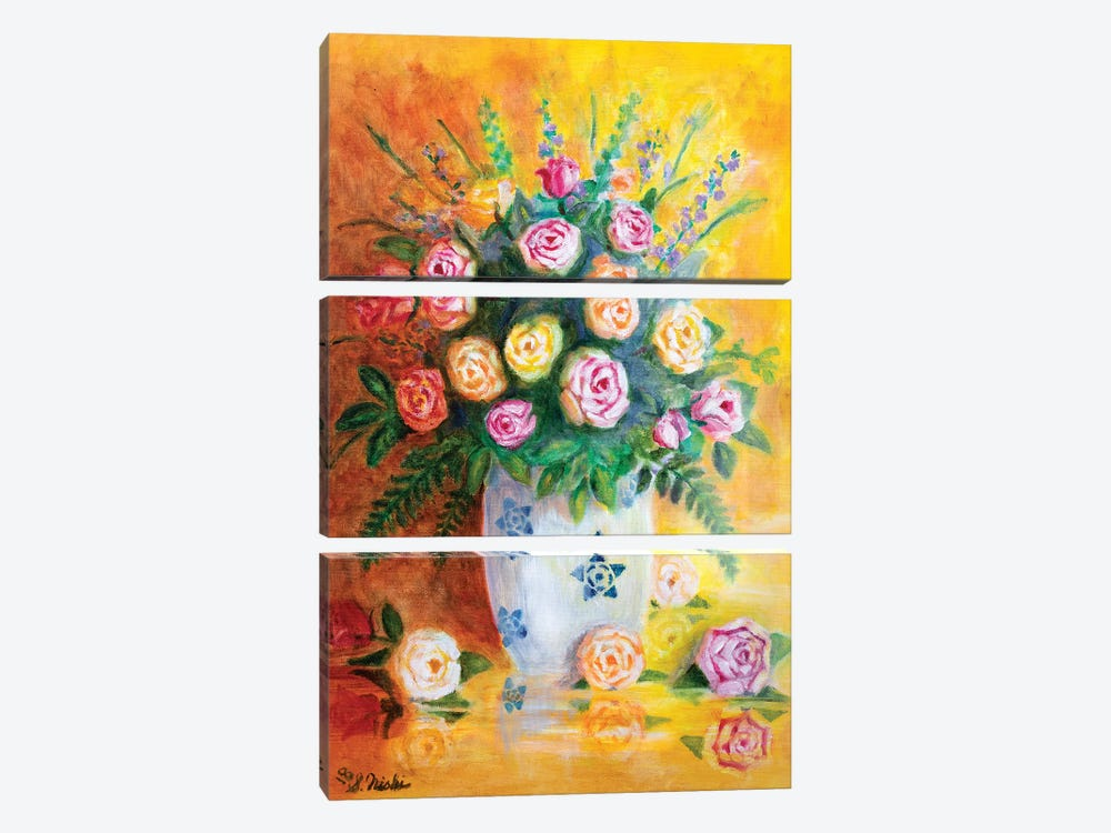 Spring Roses by Sam Nishi 3-piece Canvas Artwork