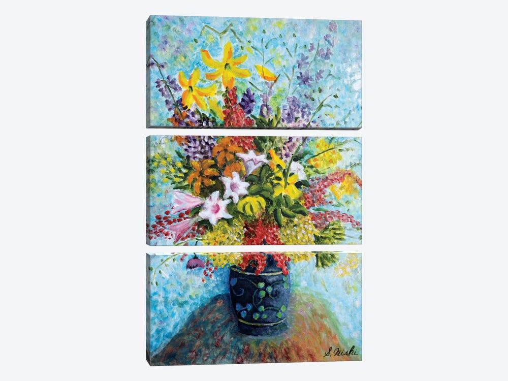 Unruly Bouquet by Sam Nishi 3-piece Canvas Artwork