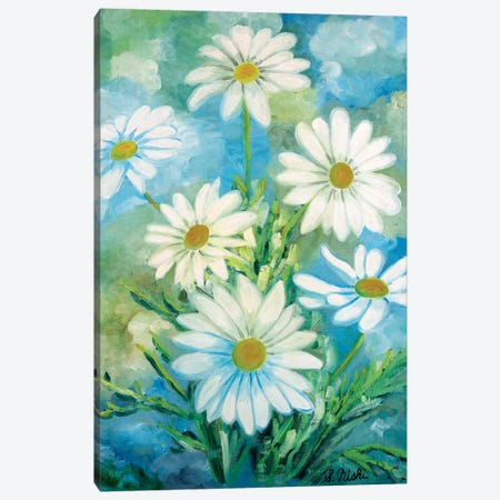 Daisies Against The Sky Canvas Print #NHI31} by Sam Nishi Canvas Print