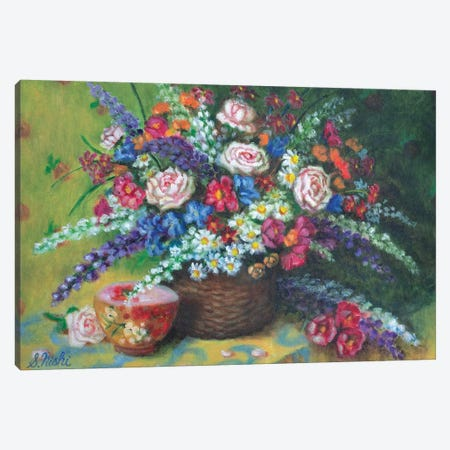 Bouquet In Basket Canvas Print #NHI3} by Sam Nishi Canvas Print
