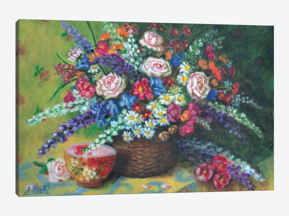 Bouquet In Basket by Sam Nishi 1-piece Canvas Print